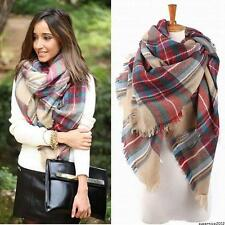 Women Bohemian Plaid Cape Cloak Poncho Jacket Coat Wool Blend Shawl Scarf Gift