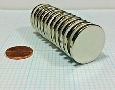 """100 Neodymium N52 Disc magnets. Super Strong Rare Earth. 1"""" x 1/8"""" Craft Neo"""