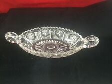 "Vintage Clear Cut Glass Oval Candy Relish Dish Tray 9"" Heavy Beautiful!"