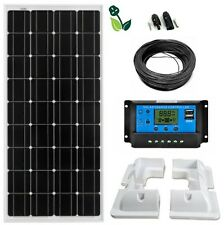 100W Solar Panel Mono 12V LCD Kit White ABS Brackets for Caravan Boat Motorhome