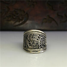 Nepal Tibet SILVER handmade tribal Filigree hand carved Adjustable open ring hot