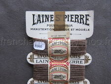 R360 Mercerie ancienne carte fil LAINE SAINT PIERRE repriser marron + bande LYON