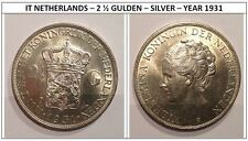 IT NETHERLANDS – 2 ½ GULDEN – SILVER – YEAR 1931