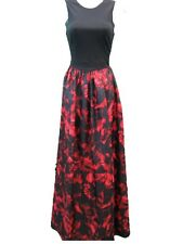 Aidan Mattox Black Red Multicolor Sleeveless Taffeta Print Long Gown Dress 2 NWT