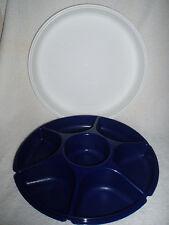 2 Pc TUPPERWARE 7-Section Divided Serving Veggie, Fruit Tray~Dark Blue/White