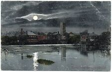 P.C Derby From The Long Bridge In Moonlight Derbyshire Pub Valentine Good Cond
