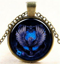 Vintage Blue Lion Cabochon Bronze Glass Chain Pendant Necklace N14
