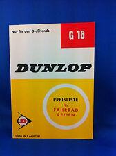 Dunlop Preisliste Fahrradreifen Grosshandel G16 1965 ***WIE NEU***