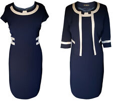 NAVY GOLD MOTHER OF THE BRIDE GROOM 2 PIECE FORMAL OUTFIT JACKET DRESS SIZE 22