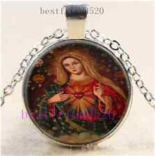 Heart of Mary Photo Cabochon Glass Dome Silver Chain Pendant Necklace#E54