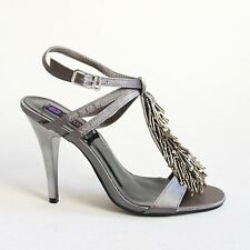 Riemchen Sandaletten 41 Grau High Heels Sandalen Pumps Damen Schuhe 168-10