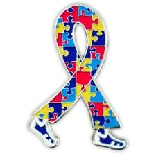 Autism Puzzle Ribbon Lapel Pin Tac Walking Legs Awareness Asperger Syndrome New