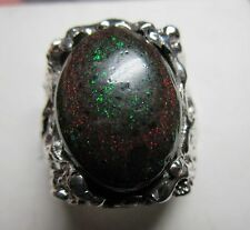 MENS Large 17.4CT Genuine Adamooka black opal HANDSOME  STERLING .925 RING