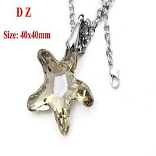 c002489 Faceted Champagne Starfish Crystal Glass Bead Pendant Chain Necklace