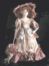 "COLLECTIBLE 18"" RED HAIRED BISQUE PORCELAIN  VICTORIAN DOLL WITH STAND"