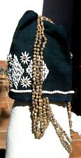 TRADITIONAL MIAO BLACK WHITE BEADS HAT CHINA TRIBAL BELLY DANCE FREE SHIPPING