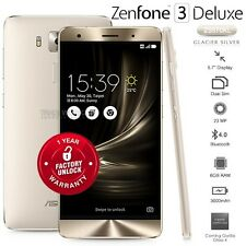 """New Unlocked ASUS Zenfone 3 Deluxe ZS570KL Silver 5.7"""" Super AMOLED Mobile Phone"""