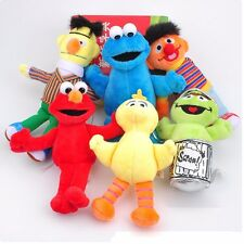 "6Pcs Sesame Street 6"" Elmo Big Bird Bert Plush Toys Soft Stuffed Doll Kids Gift"