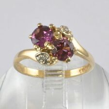 Vintage Ring in 10kt Gold - Pink Garnets and Diamonds Set in Heart Shape
