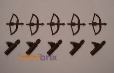 5x Lego Bows + Quivers Brown Archer Lot for Castle, Lord of the Rings Hobbit NEW