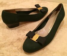 SALVATORE FERRAGAMO Hunter Green Leather Classic Gold Vara Bow Ballet Flats 8 2A
