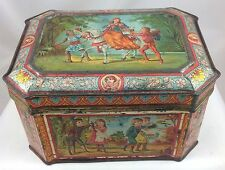 VICTORIAN CHILDREN BISCUIT TIN c1895 DELIGHTFUL SCENES