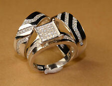 White Gold Finish Engagement Ring And Multi Wedding Bands Set His Hers