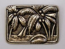 #3358 ANTIQUED GOLD RECTANGLE SHAPED TROPICAL SCENE BROOCH - 2 Pc Lot