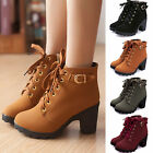 Women Mid High Heel Ankle Boots Block Buckle Platform Soft Leather Lace Up Shoes