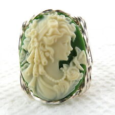 Goddess Butterfly Cameo Ring .925 Sterling Silver Jewelry Green Resin Any Size