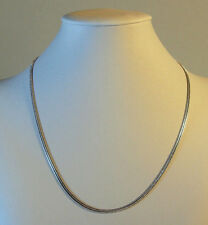 White Gold Plated Necklace Womens Mens Snake Choker Chain  No Stone 18in 9k WG-1