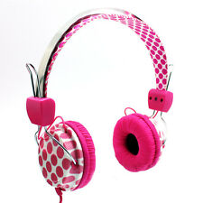 """NEW LAXMAX """"PINK DOTS"""" Stereo Headphones - SALE"""