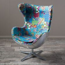 Modern Inspired Multi-Colored Whimsical Patch Fabric Chrome Swivel Accent Chair