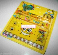 Stationery Pen Pencil Eraser Ruler Set (SpongeBob Design)