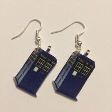Doctor Who TARDIS Earrings HANDMADE PLASTIC CHARMS David Tennant Matt Smith