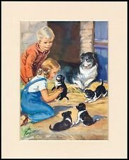 BORDER COLLIE PUPPIES AND CHILDREN CHARMING DOG PRINT MOUNTED READY TO FRAME