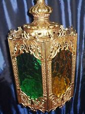Vintage Mid Century Gothic Brass Glass Panels   Retro Hanging Swag Lamp