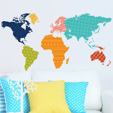 Colorful world map room decor Wall sticker large Wallpaper wall decals PVC mural