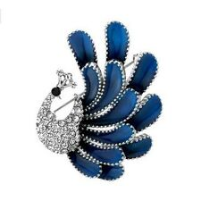 Beautiful Vintage Style Blue Enamel Peacock Brooch with Imitation Diamonds