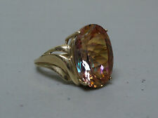 GORGEOUS VINTAGE ESTATE 10K YELLOW GOLD RING with LARGE MYSTIC TOPAZ, SIZE 6.75