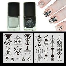 4pcs Nail Stamping Polish Black Silver & Stamp Plates Geometry Triangle Design