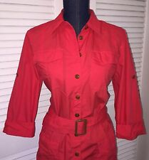 Lauren RALPH LAUREN Red Button Down Belted Coat Dress Sz 12 ❤ Valentine's Day