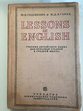 "Vintage Soviet School textbook ""Lessons in English"" -  USSR 1938"