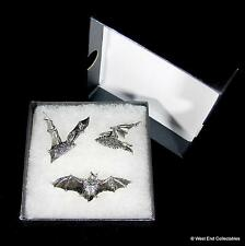 Gothic Bat Handmade Pewter Pin Brooch Set - 3 x Badge Gift Box Halloween Vampire