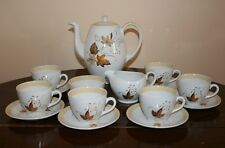 Vintage Alfred Meakin Glo White Coffee Sett - Autumn Leaves Design c.1960's