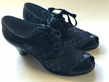 Vintage Dr Locke Womens Black Leather Shoes Swing Dance Peep Toe Lace Size 5.5