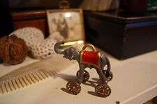 Vintage Metal Circus Elephant on Wheel Cast Toy
