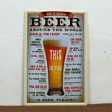 """How to order a BEER around the world"" Metal Tin Sign Vintage HOME Art BAR Decor"