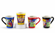 "ROMERO BRITTO  SET OF 4  MUGS  ""THE HUG"" ** NEW **"