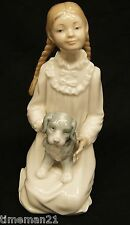 "LLADRO NAO Girl with Pigtails ""Holding her Puppy"" 171 7.25"" 03200"
